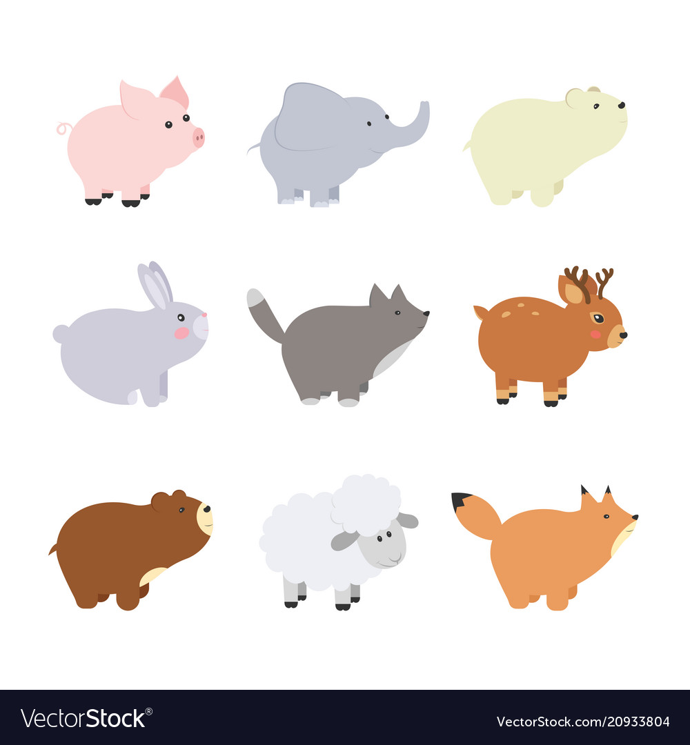 Big set isolated animals collection funny