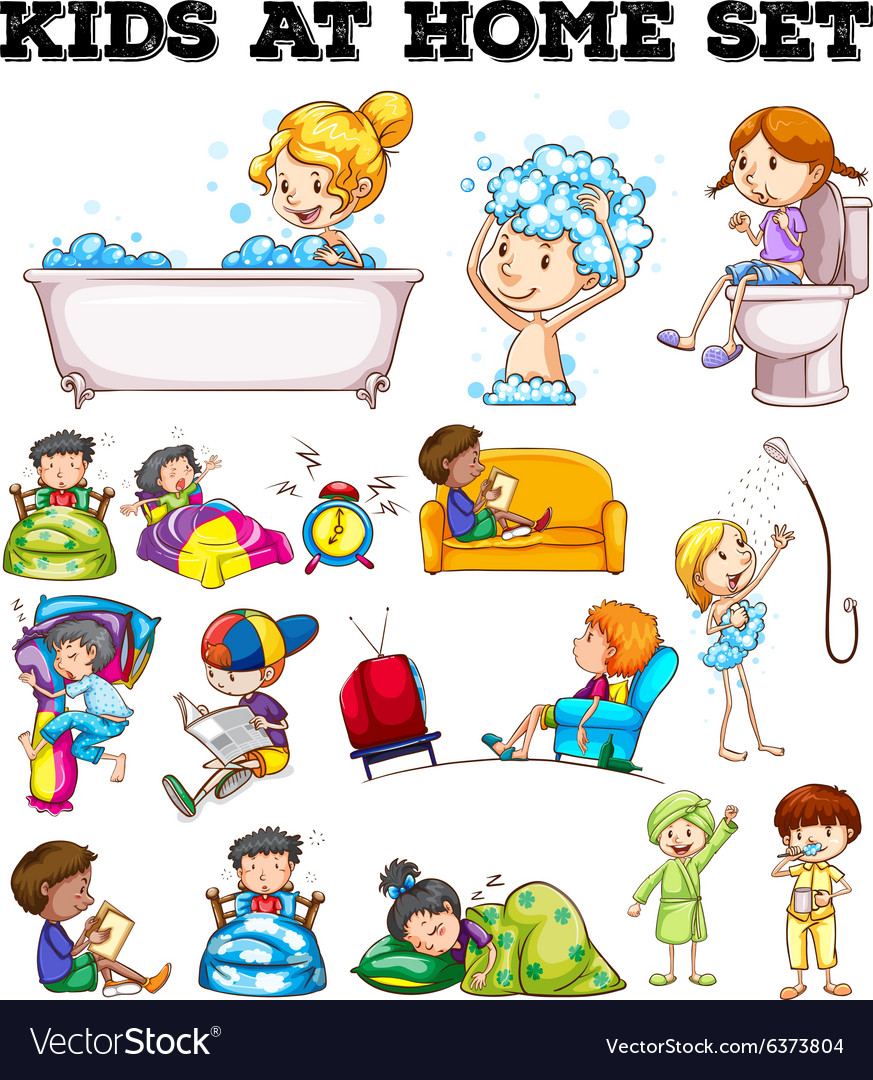 Why Are Kids Different At Home And At >> Children Doing Different Activities Royalty Free Vector