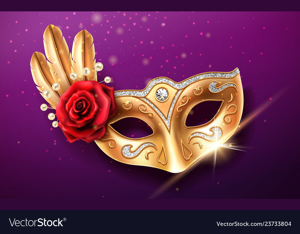 Colombina mask with beads and feather rose flower