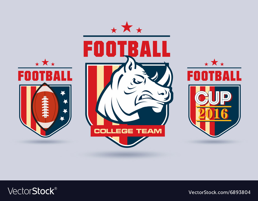 Flat football or rugby logo set for sport