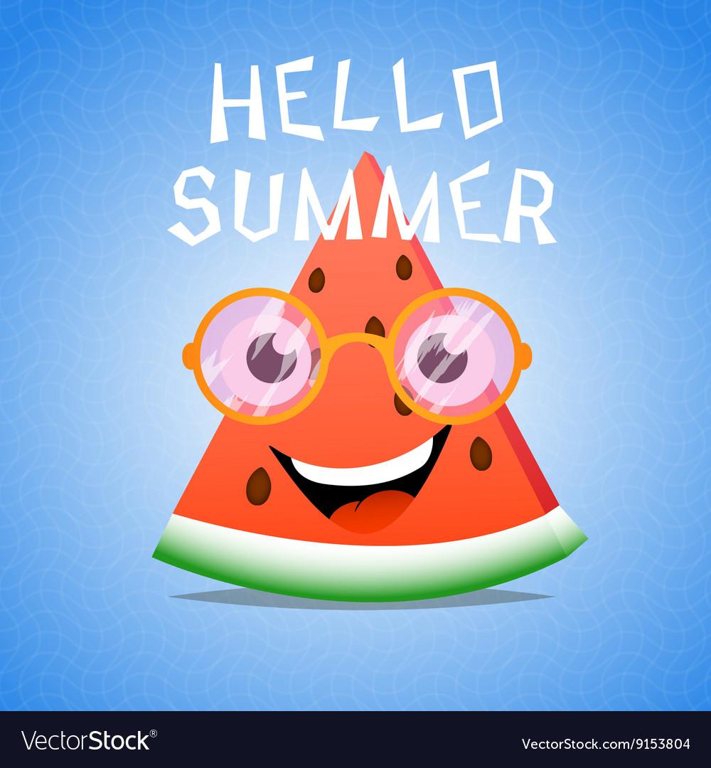 Funny cartoon piece of watermelon