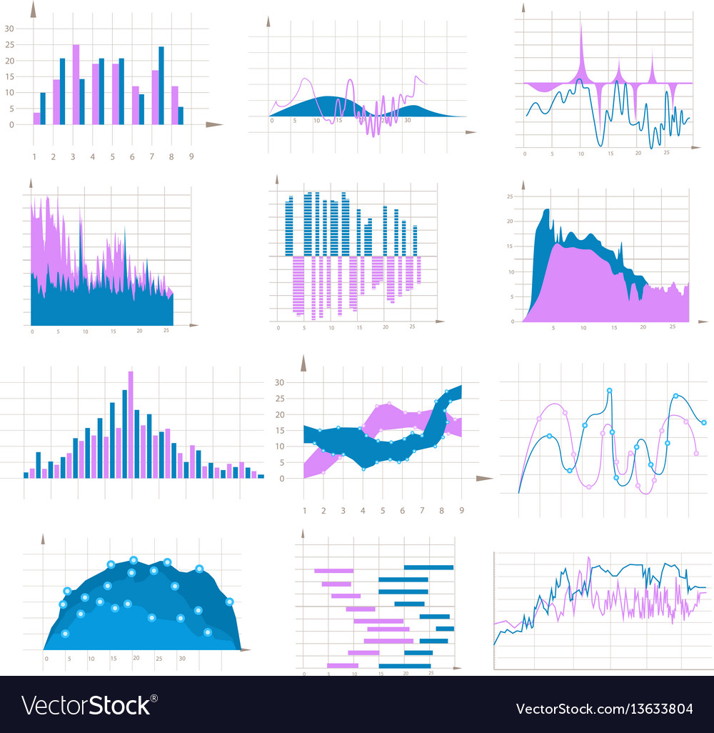 Graph and chart colorful set