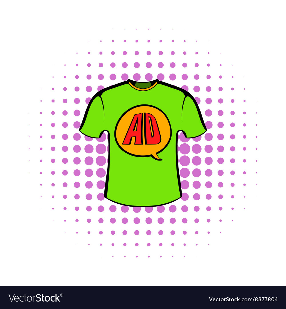Green shirt with AD letters icon in comics style