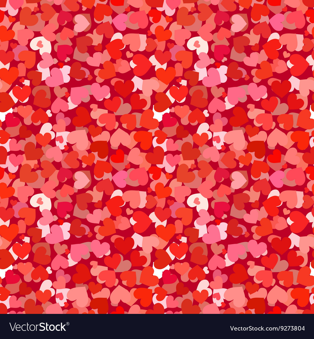 Many red and pink hearts seamless pattern