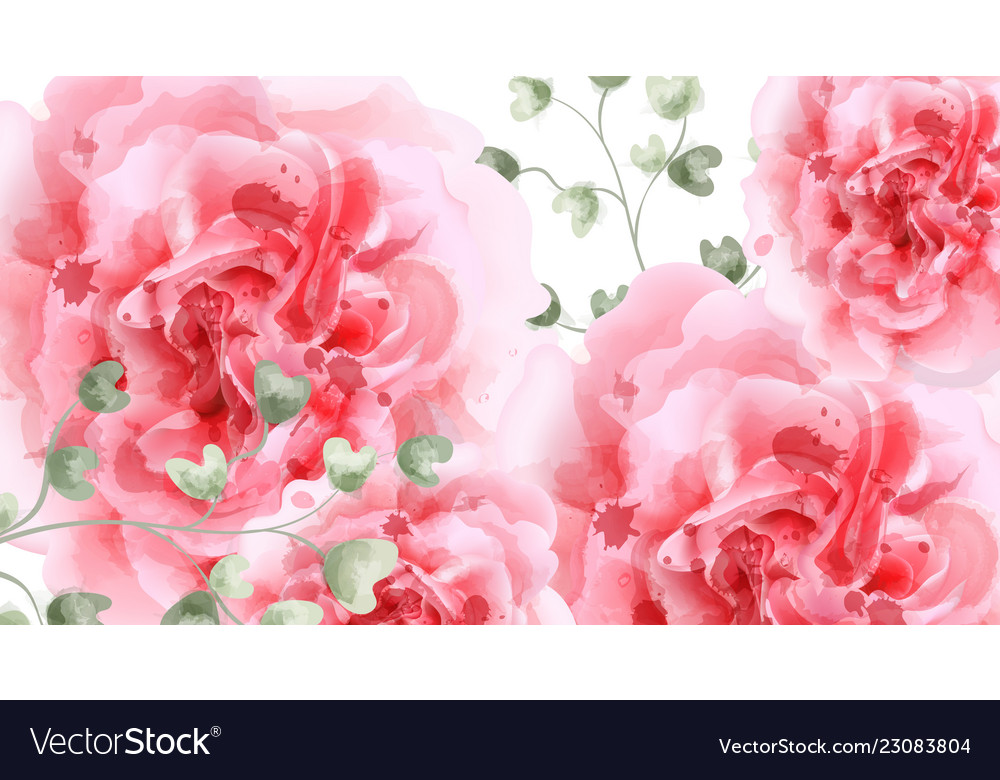 Pink roses watercolor background top view