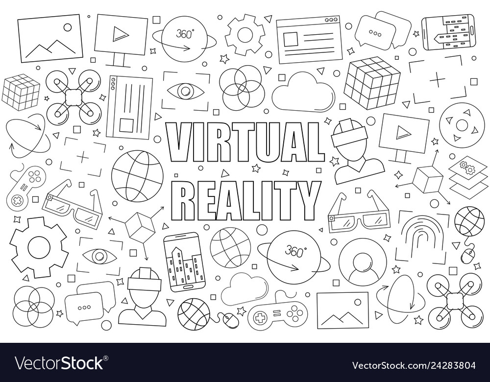 Virtual reality background from line icon