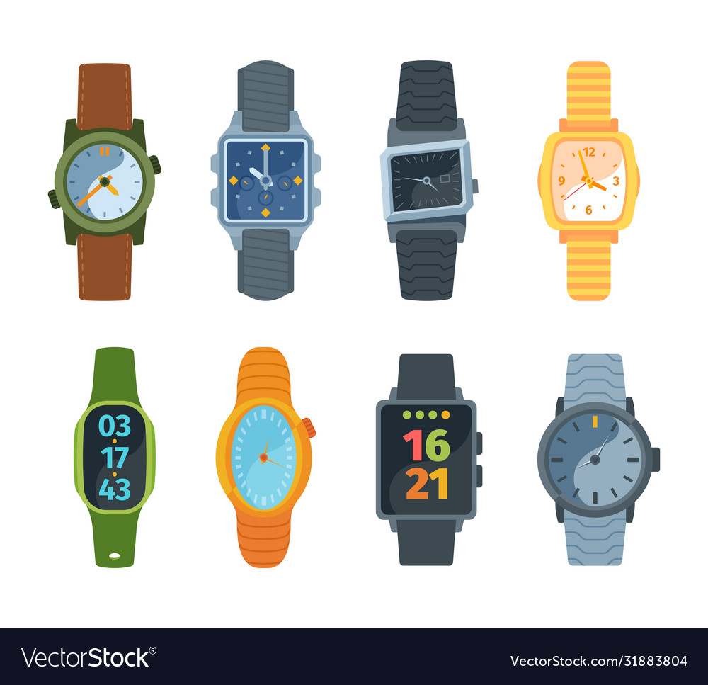 Wristwatch set classic and modern watches