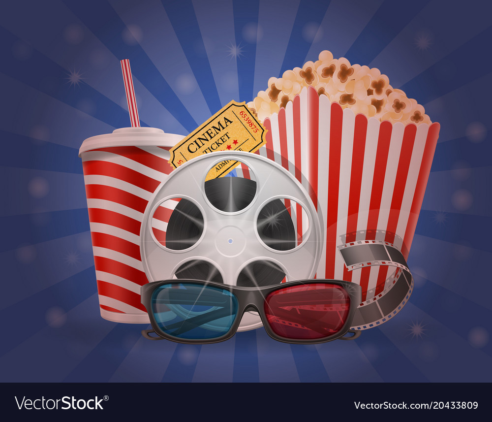 Cinema concept popcorn film tickets and 3d