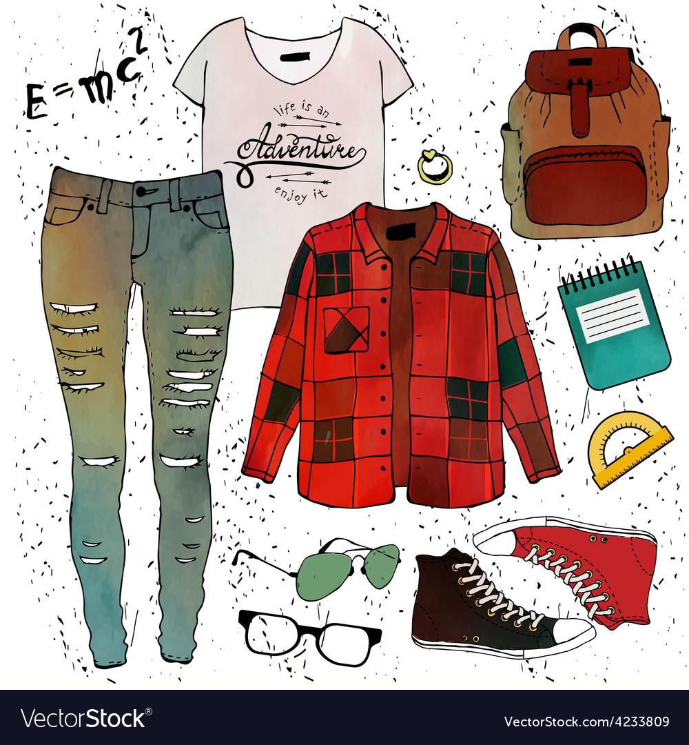 Fashion clothing set vector image