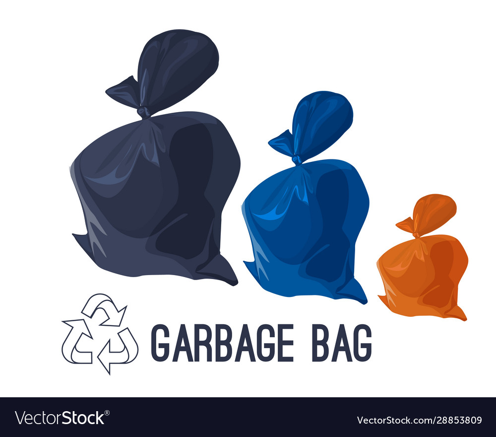 Garbage bag icons set rubbish waste and trash in