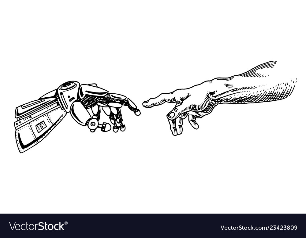 Hand touch android and human artificial