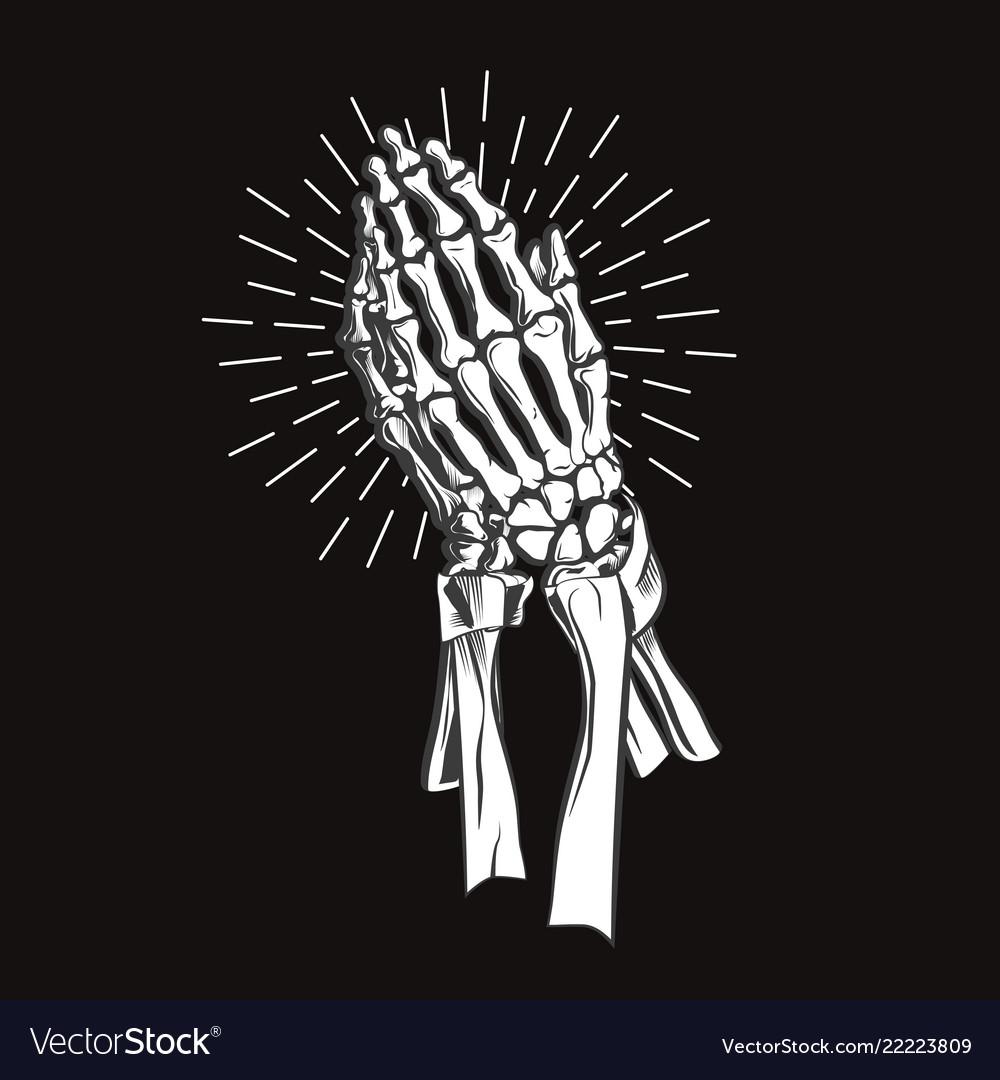 bde6f1a96 Praying skeleton hands Royalty Free Vector Image