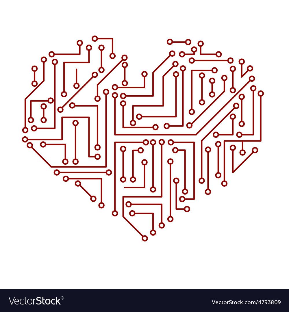 Printed electrical circuit board heart symbol Vector Image