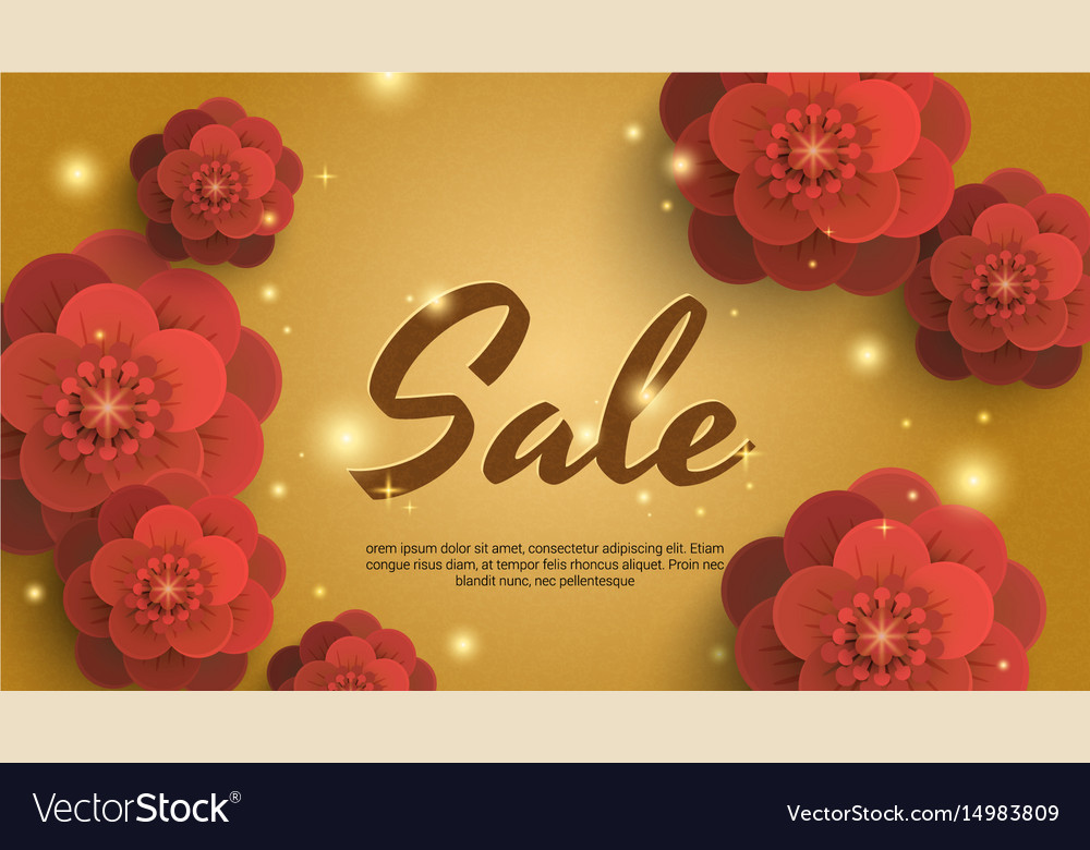 Sale Gold Background With Red Paper Flowers