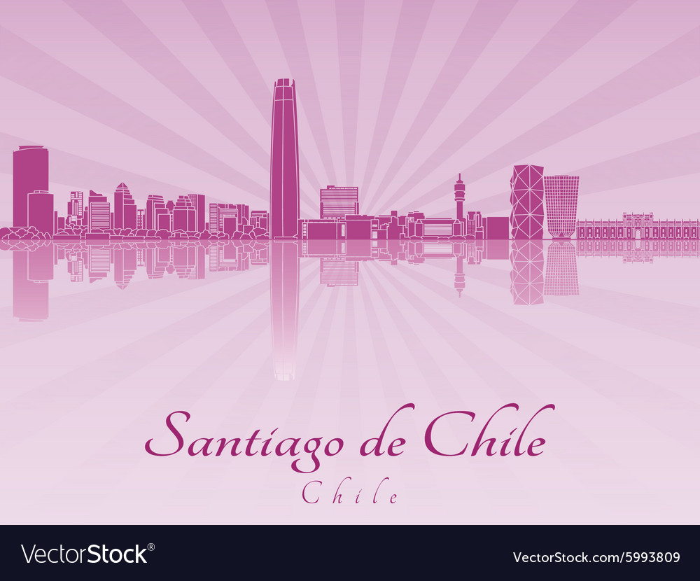 Santiago de Chile skyline in purple radiant