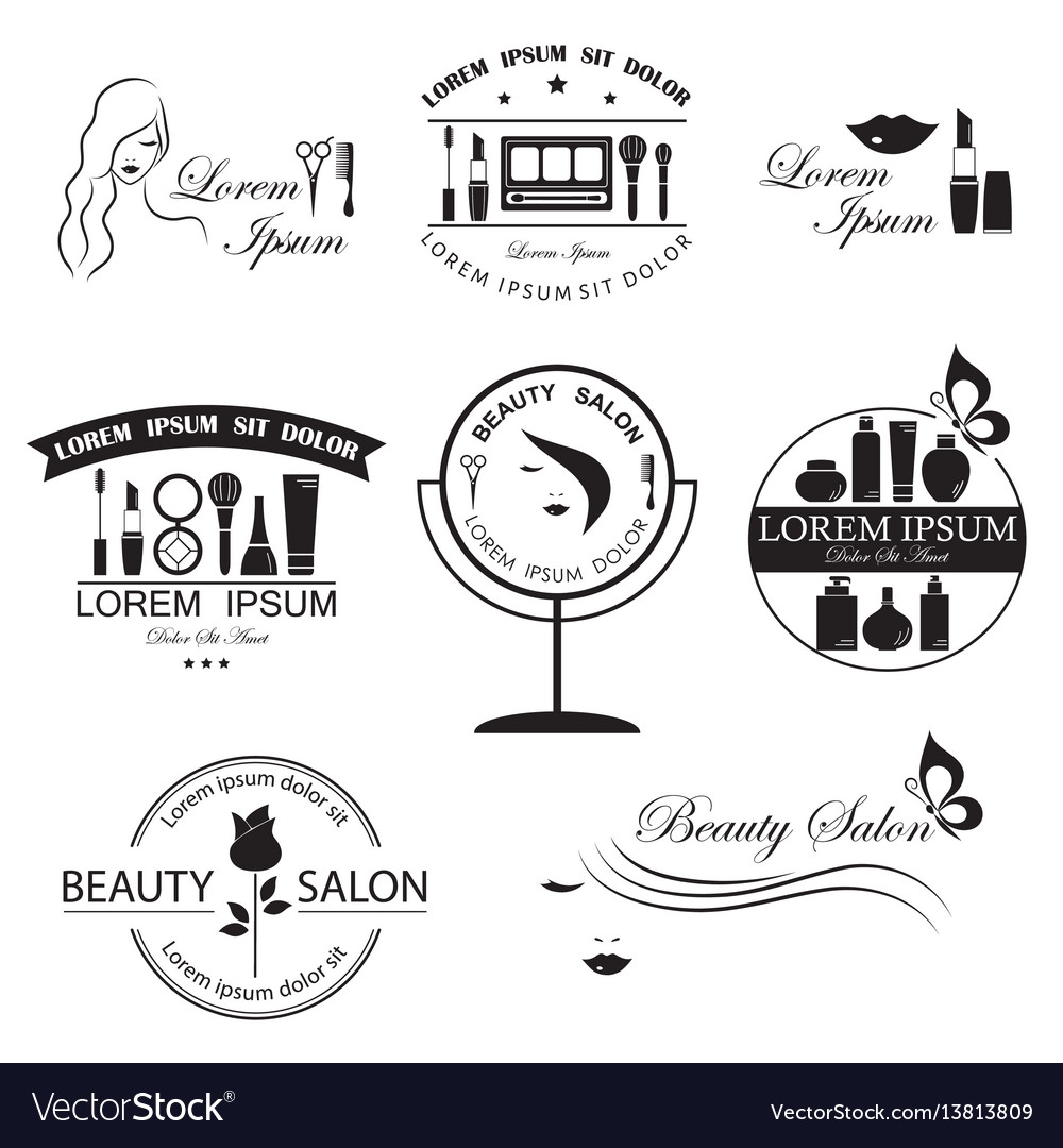 Set of beauty logo templates labels badges