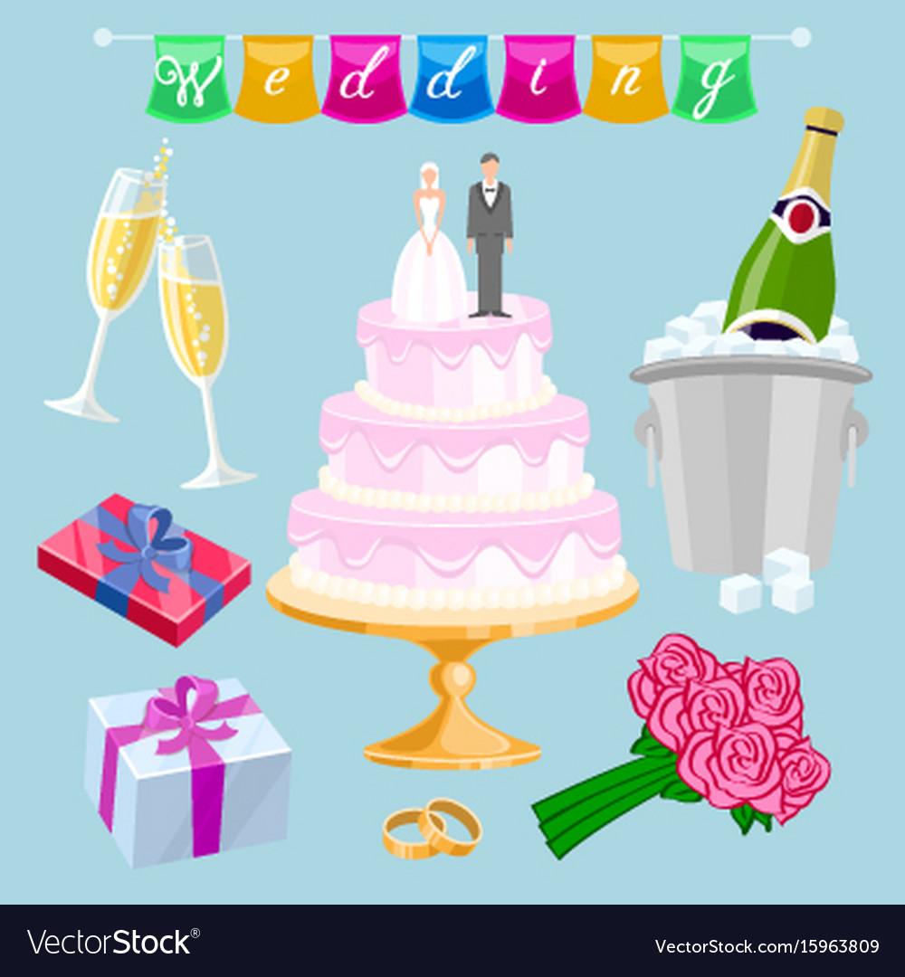 Set wedding cake with couple newlyweds glasses