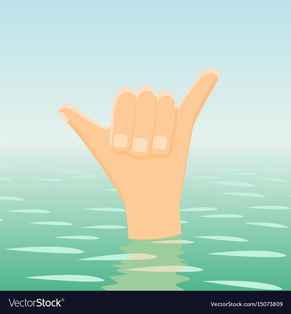 Surfing shaka hand sign