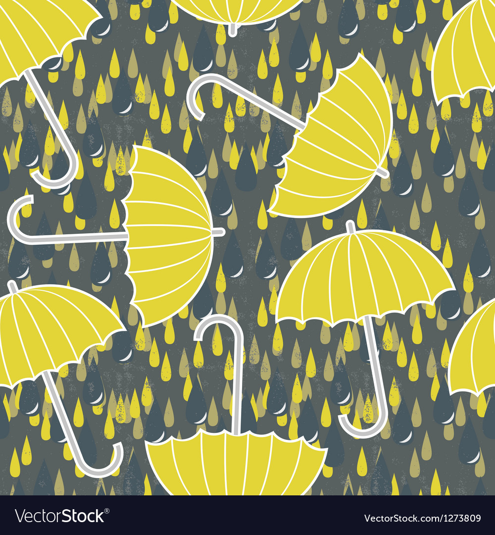 Umbrella And Rain Wallpaper Vector Image