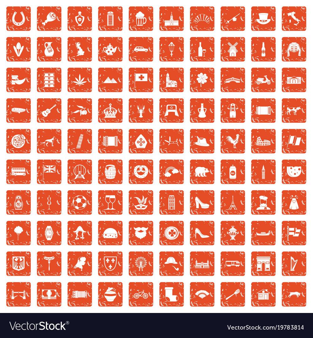 100 europe icons set grunge orange