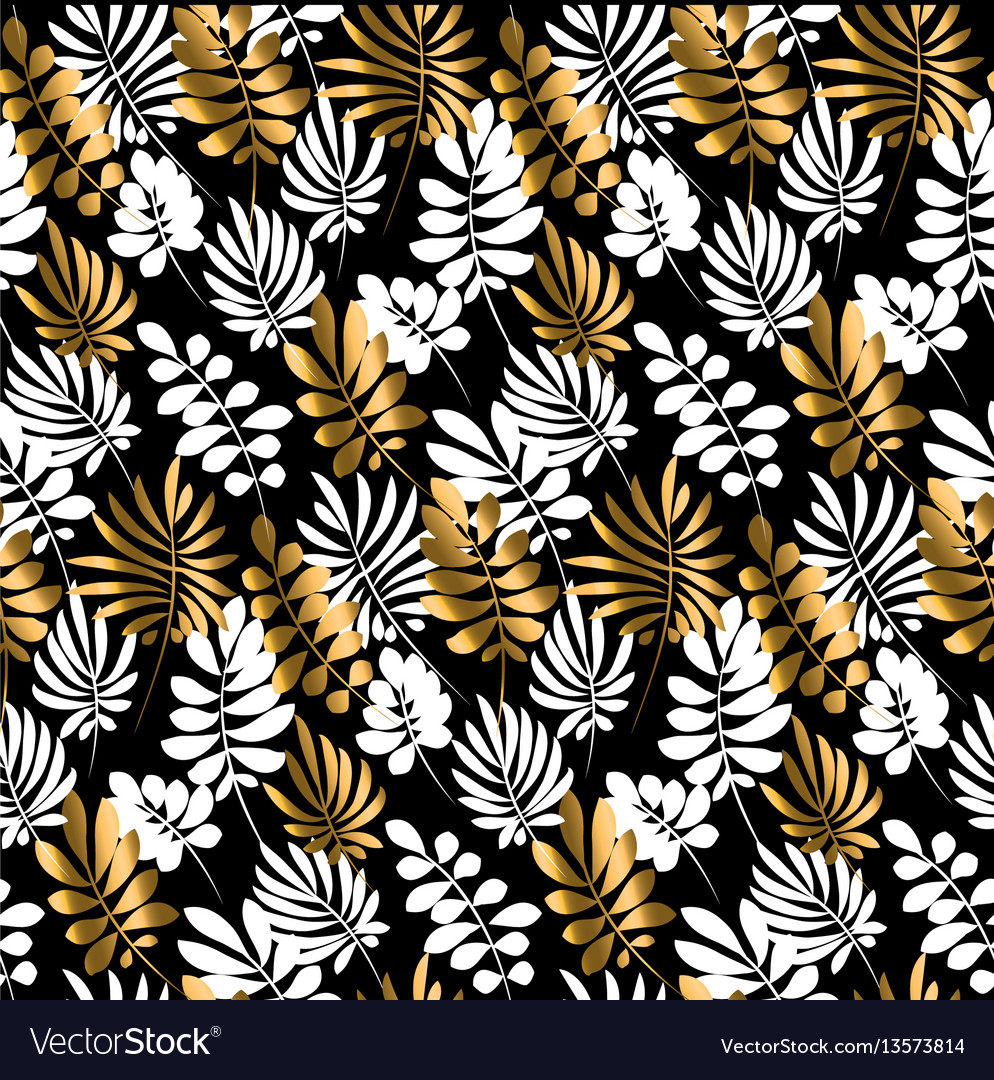 Black and gold luxury tropical leaves seamless
