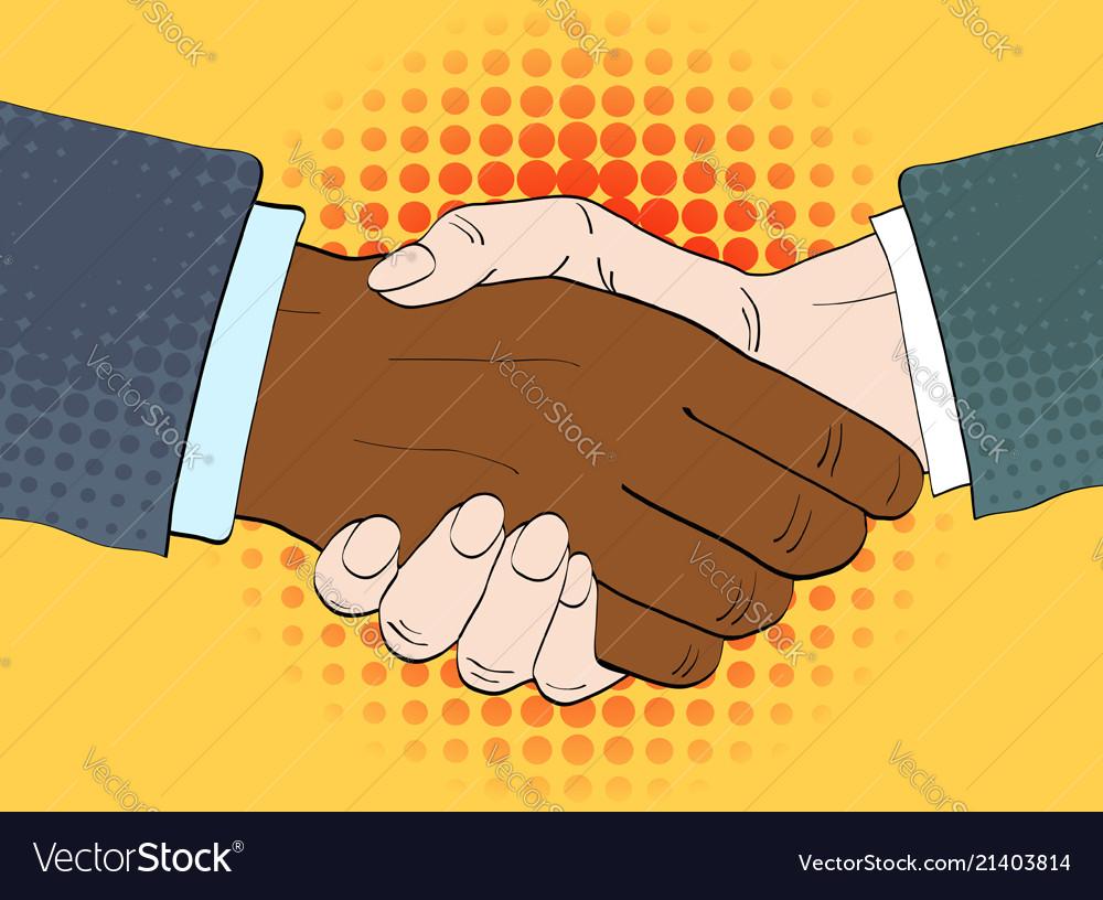 Businessmen shake hands in retro
