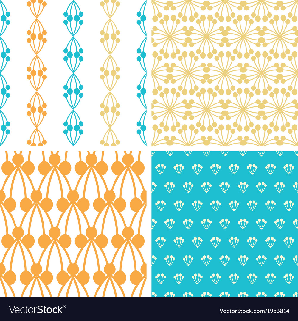 Four abstract blue yellow berry shapes seamless vector image