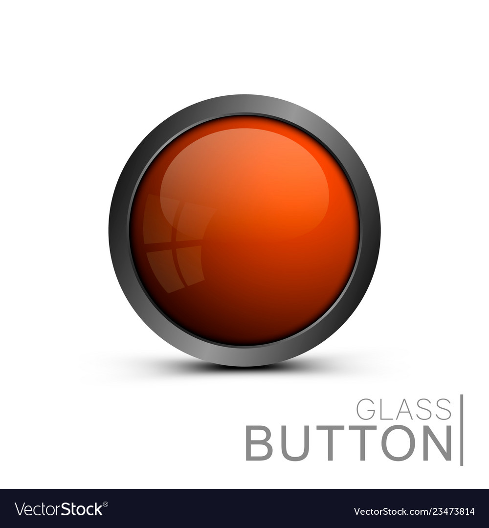 Glass button on white background