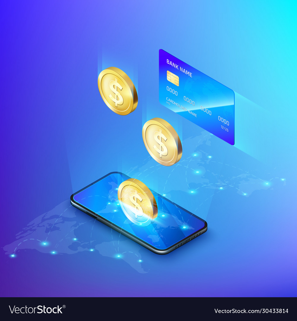 Mobile phone and falling gold coin credit card
