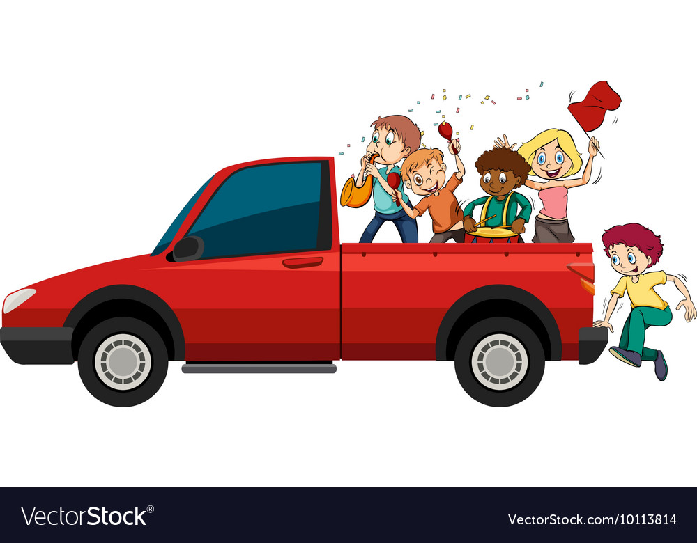 People playing musical instruments on the truck vector image