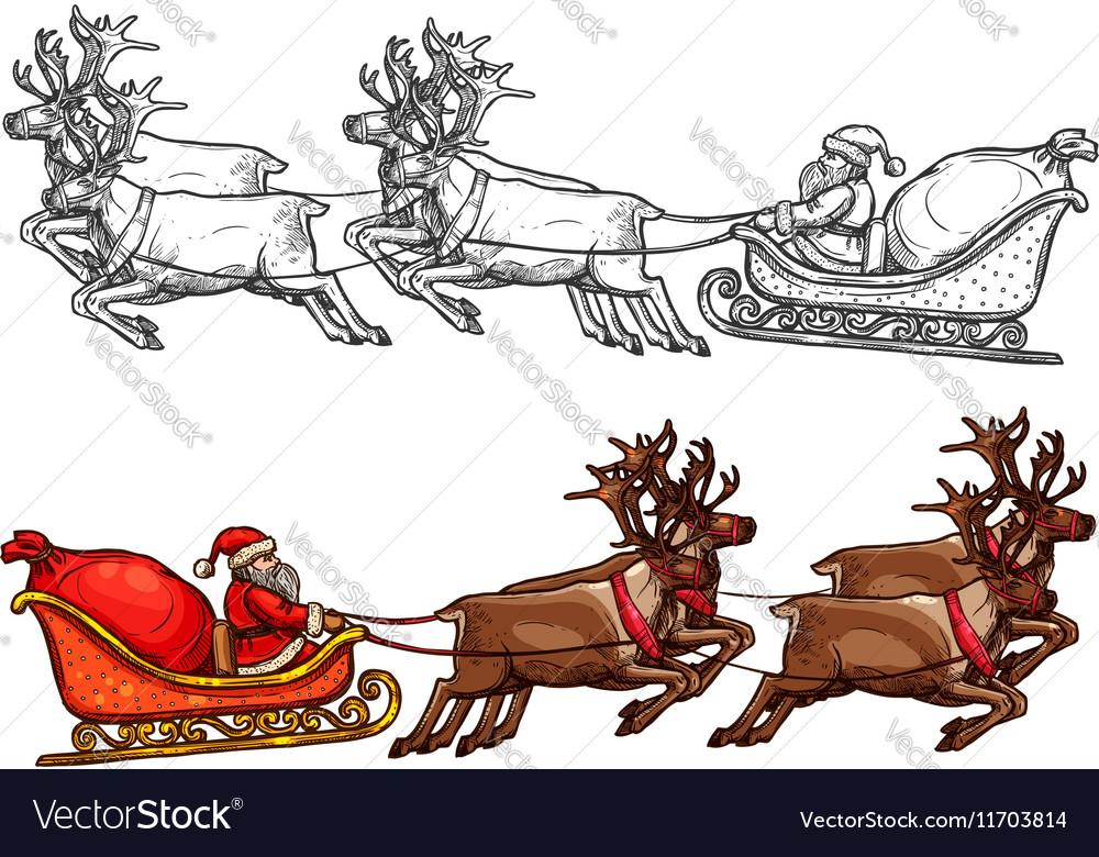 Santa reindeer sleigh gift bag sack sketch