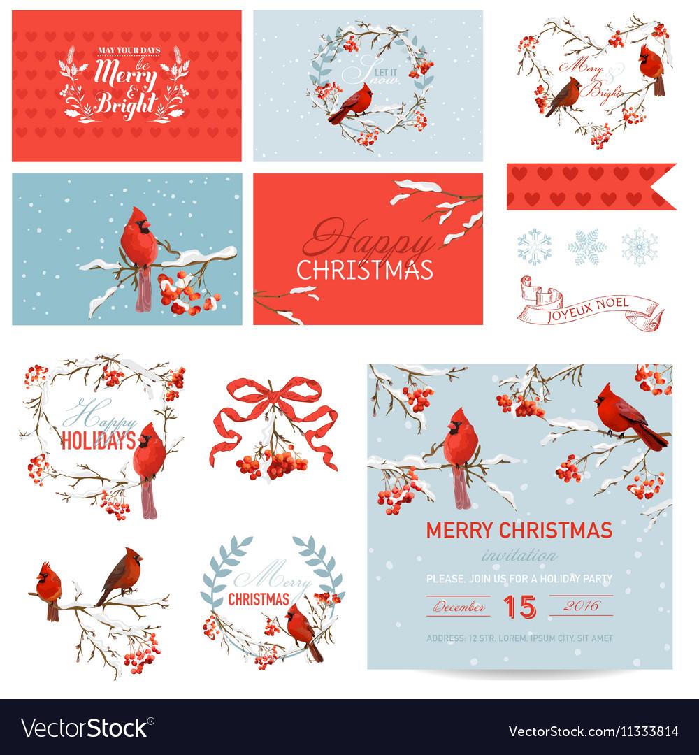 Scrapbook Design Elements Vintage Christmas Birds
