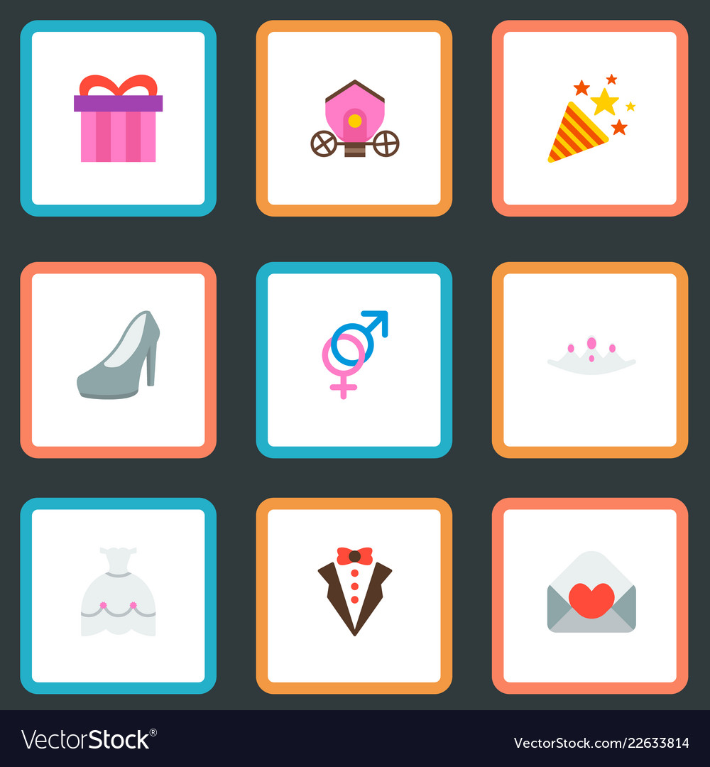 set of marriage icons flat style symbols with gift