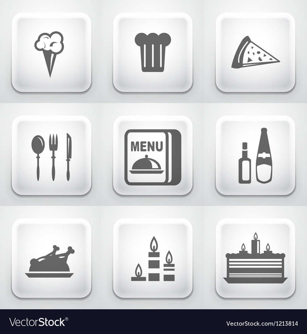 Set of square application buttons restaurant