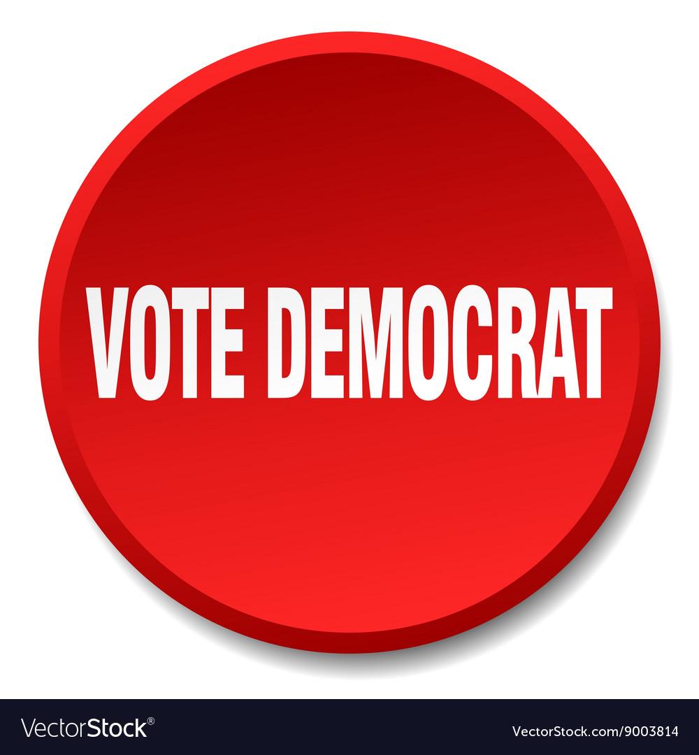 Vote democrat red round flat isolated push button