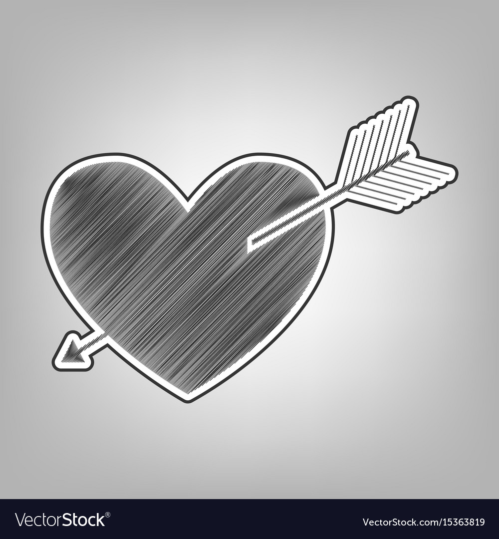 Arrow heart sign pencil sketch imitation vector image