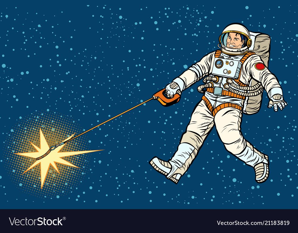 Astronaut walks a star like a dog