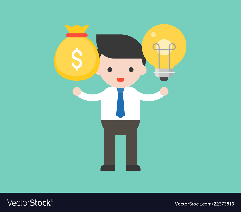 Businessman hold light bulb at left hand and