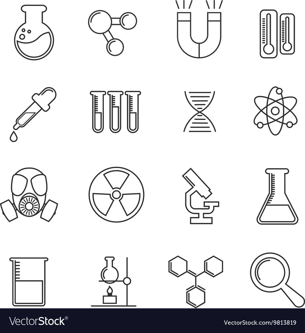 Chemistry thin line icons set