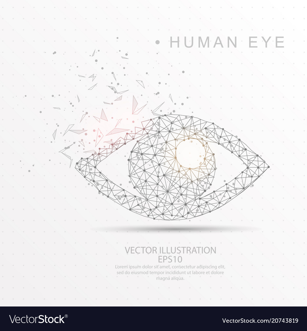 Eye shape digitally drawn low poly wire frame