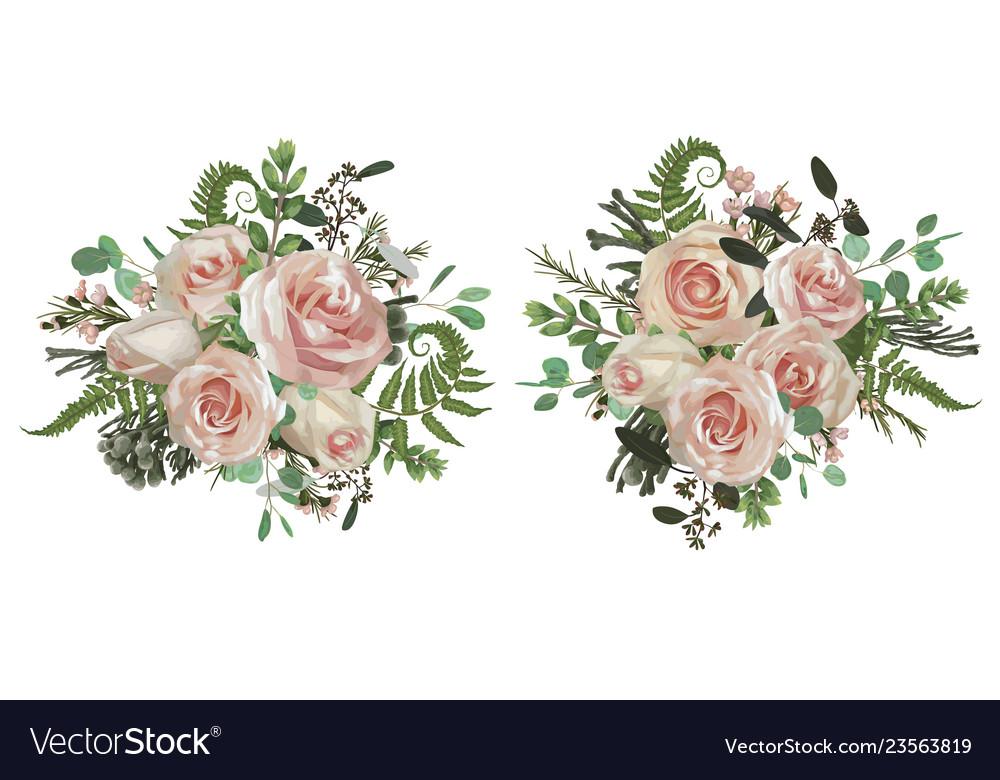 Floral bouquet design set green forest leaf