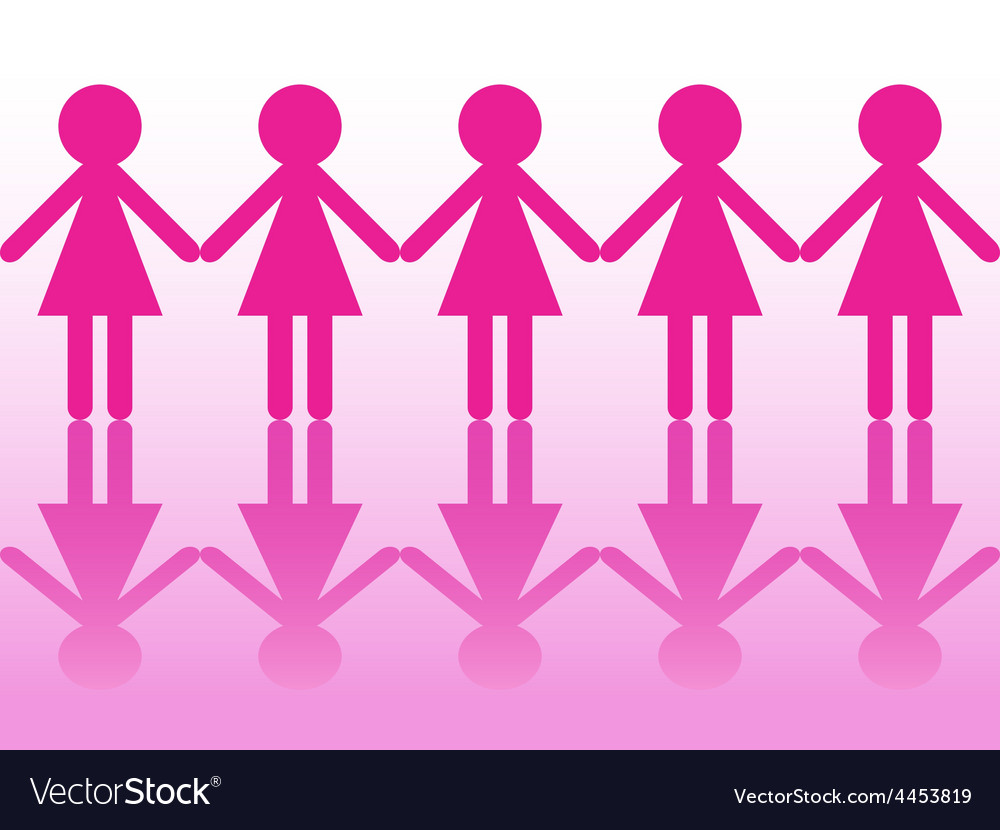row of women silhouettes holding hands royalty free vector