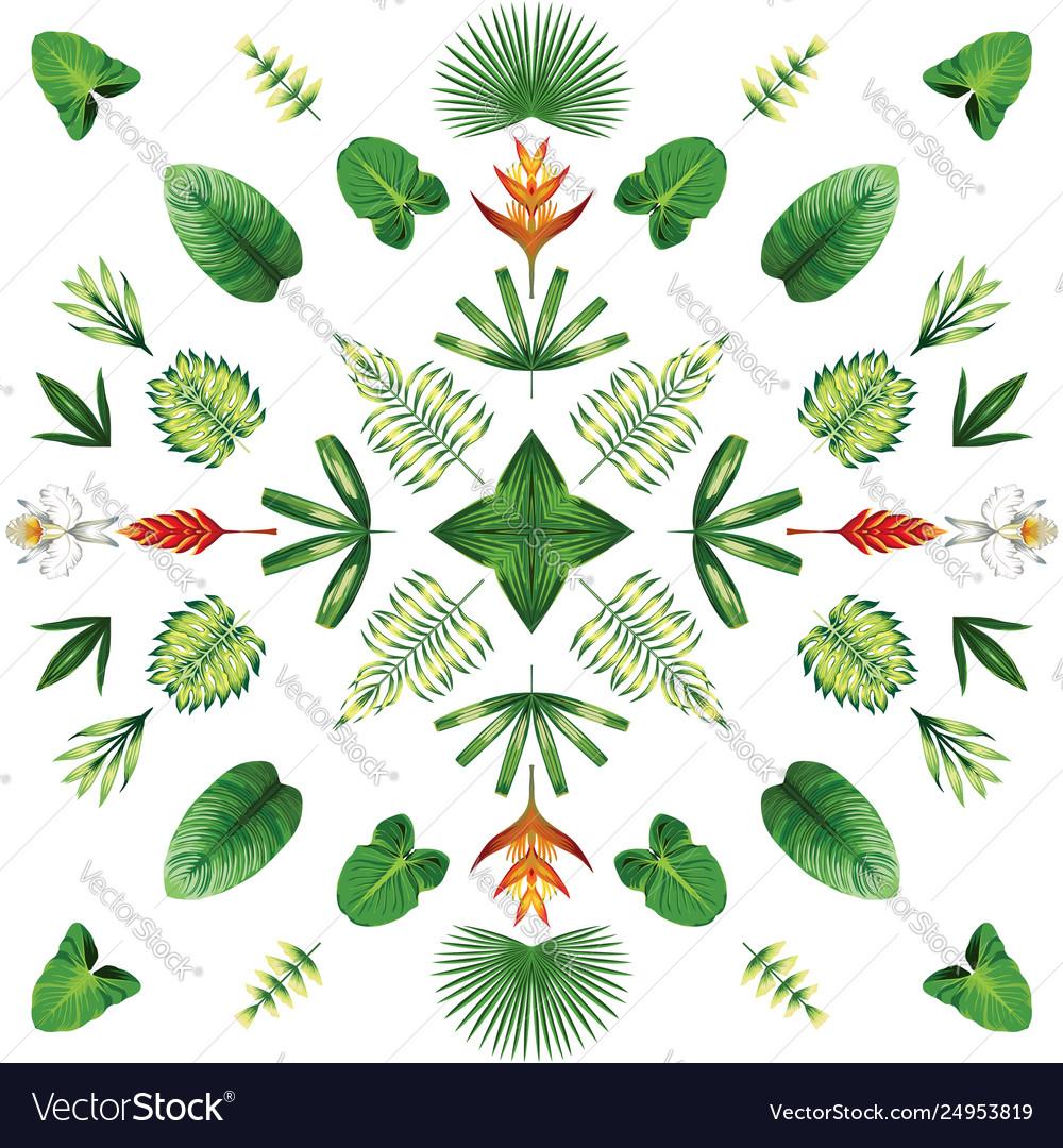 Symmetric geometric tropical flowers and leaves