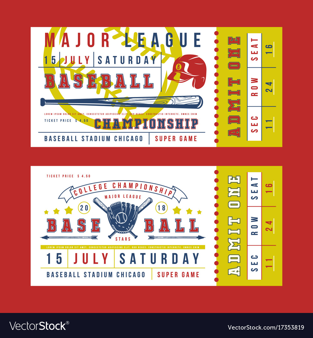 template for vintage baseball ticket royalty free vector