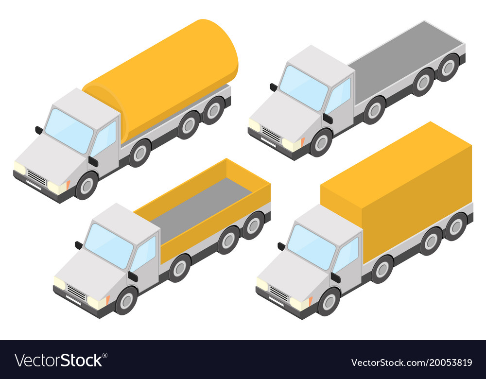 Trucks collection of yellow isometric vehicles