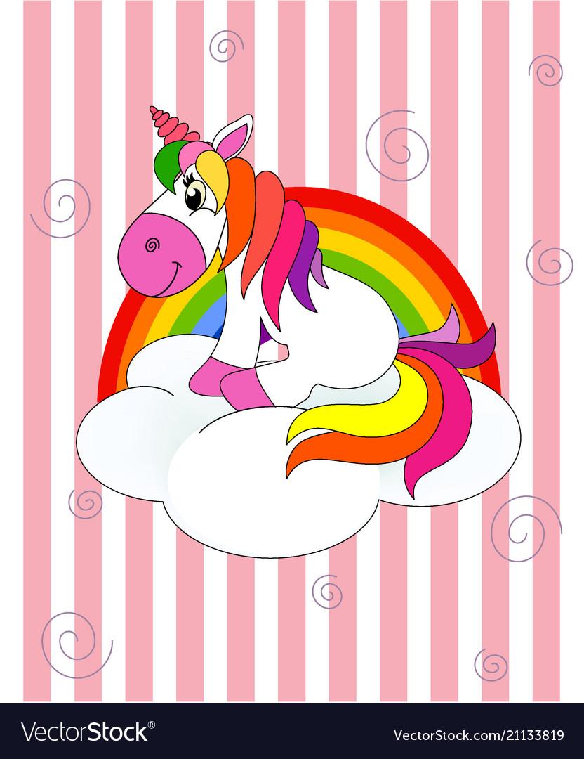 Unicorn Sitting On A Cloud With Rainbow Str Vector Image