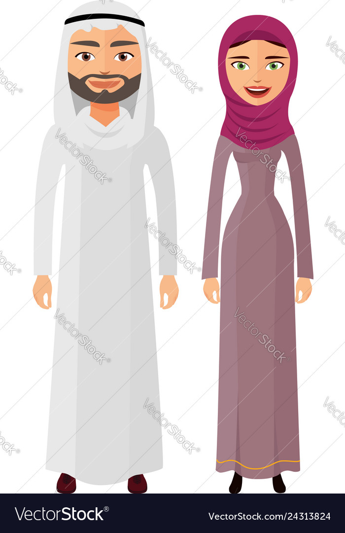 Arab couple man and woman together happy