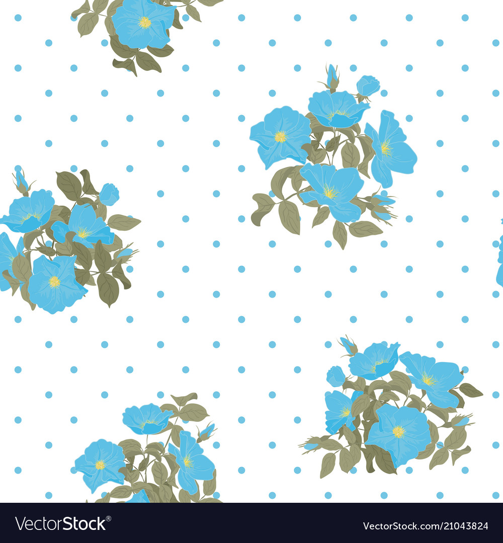 Blooming wild flowers seamless pattern with polka