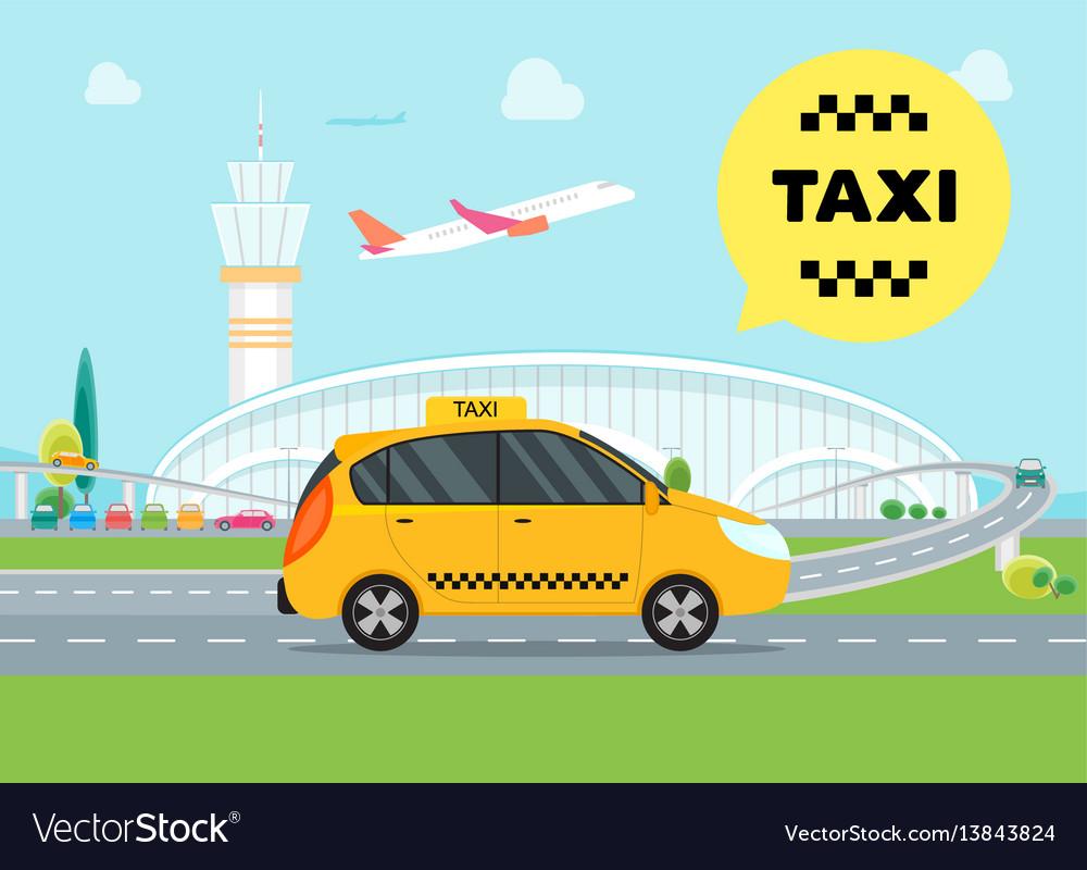 Cartoon airport taxi service car