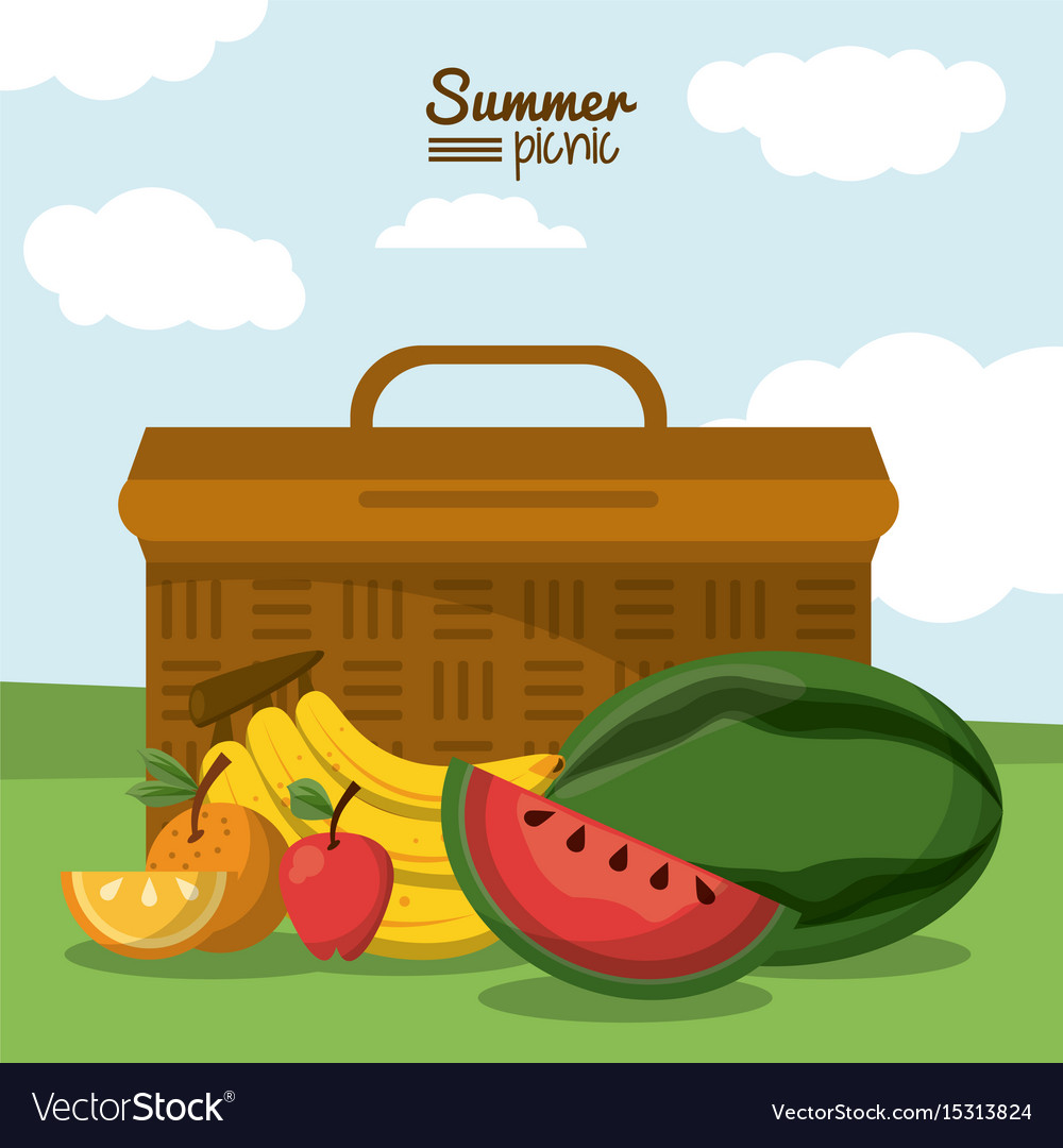 Colorful poster of summer picnic with outdoor